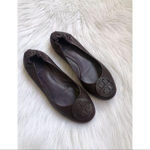 Tory Burch Reva Dark Plum Leather Flats ~Size 7.5~